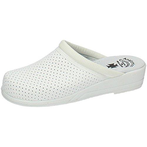 MADE IN SPAIN Z Zuecos Piel Blancos Mujer Calzado