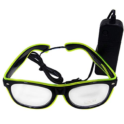 UTOVME EL Leuchtbrille Party Club LED Leuchten Brillen Partybrille Eyeglasses Nicht blendet mit Batterie Box Lemon Gruen