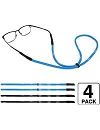 MoKo Correa de Gafas Ajustables , [4 Pack] Retenedor de Gafas de Sol Deportivas Universales con Tiras, Gafas de Sol de Unisexo Para Todos - Negro y Azul