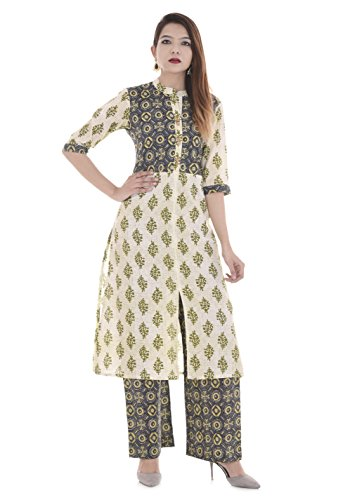 Palakh Women's Cotton Straight Printed Kurti With Palazzo (Multicolor)