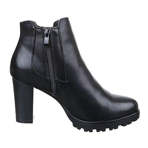Damen Schuhe, C202, STIEFELETTEN BOOTS Schwarz
