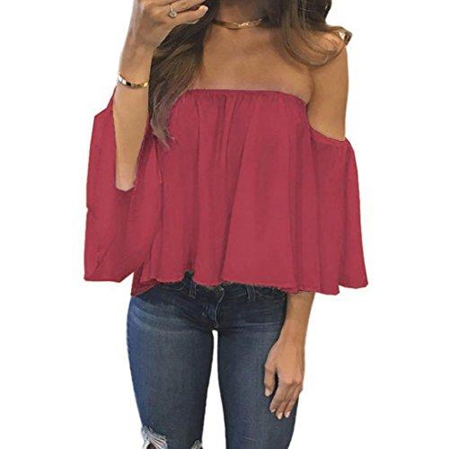 OSYARD Damen Langarm Pullover T-Shirt aus der Schulter beiläufige Bluse(EU 38/M, Rot)