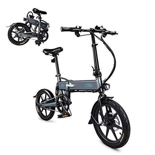 AIMADO Bicicletta Elettrica Pieghevole Mountain Bike 250 W 25 km/h in Alluminio Batteria 36 V Luce Anteriore con 3 Livelli di Assistenza (Grigio 16inch)