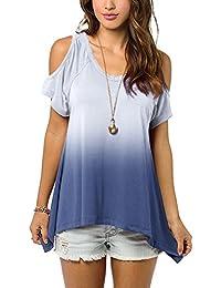 Urban GoCo Camisas Fuera del Hombro Blusa Color Degradado Camiseta Moda para Mujer