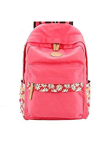 Unisex Canvas Leichte Laptop-Tasche / Schulter Daypack / Modeschule Rucksack / beiläufige Handtasche (Grün) Rosa