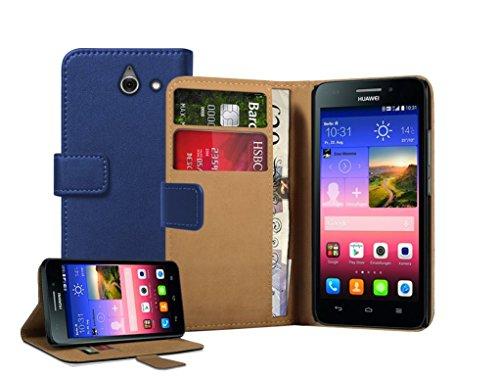 Membrane - Blau Brieftasche Klapptasche Hülle Huawei Ascend Y550 (Y550-L01, Y550-L02, Y550-L03) - Wallet Case Cover Schutzhülle + 2 Displayschutzfolie