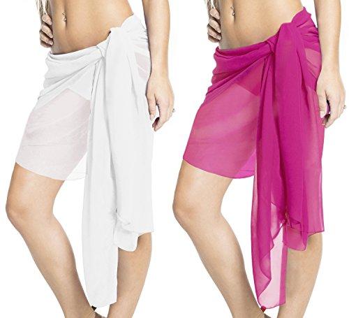 La Leela Rong Hälfte Mini Frauen Rock Schal Pareo Wrap Badeanzug Badebekleidung (Schal Wrap Cardigan)
