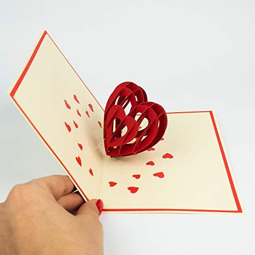 Anniversario Matrimonio Auguri Romantici : Papercrush® biglietto di auguri pop up a forma di cuore 3d per