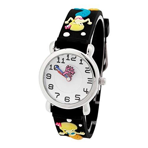Vinmori Kinderuhr für die Jungen Mädchen Cartoon Muster Silikon Band wasserdicht Quarzuhr(schwarz) -
