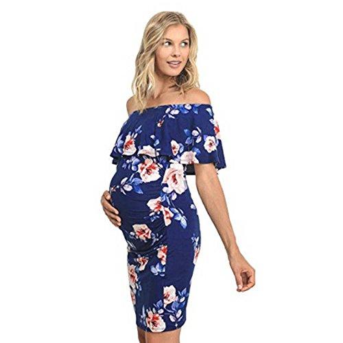 55cb214c9c768 GNYD Women's Pregnant Print Dress Clothes Maternity Floral Wrap Long  Sundress (L, Light Blue