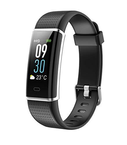 INF - Fitnessarmband mit Herzfrequenzmesser mit Farbdisplay, Activity Tracker, Pulsuhr, Schrittzähler, IP68 wasserdicht, GPS Tracking, für iPhone & Android