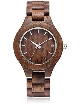 [Gesponsert]Nature Walnussholz Herren-Armbanduhr omelong® mit Japan Quarz-Uhrwerk + Woody Armbanduhr Face + Analog Display