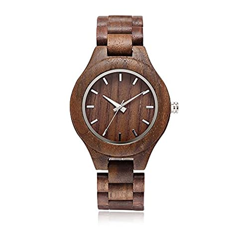 Omelong® Fashion Men's Handmade Walnut Wood Wrist Watch With Japan Quartz Analog Casual Watches