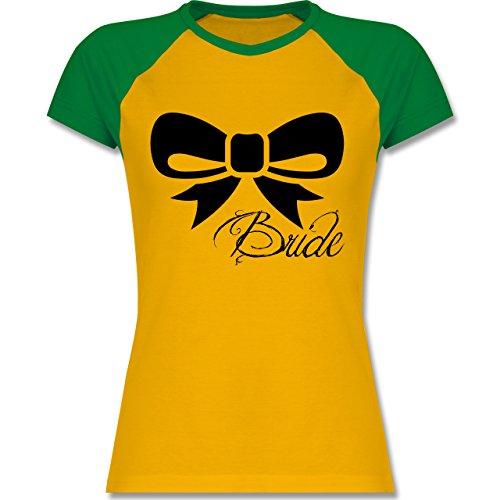 JGA Junggesellinnenabschied - Schleife Bride - Braut - zweifarbiges Baseballshirt / Raglan T-Shirt für Damen Gelb/Grün