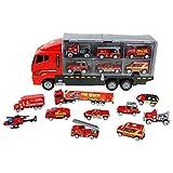 Webla - Construction 11 en 1, camion de construction moulé sous pression, jeu de véhicule véhicule jeu véhicules dans transporteur