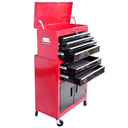 Servante d'atelier servante/caisse à outil 6 tiroir +1 commode coffre amovible chariot acier rouge et noir