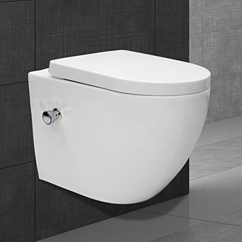 ECD Germany Wand Hänge-Dusch-WC mit integrierter Bidet-Funktion - mit Soft-Close Absenkautomatik - aus Keramik - abnehmbar - Weiß - mit Duroplast WC-Sitz - Hänge Toilette Toilettensitz