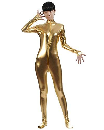 saideng-unisex-metallico-corpo-affioramento-lycra-cerniera-catsuit-zentai-giallo-m