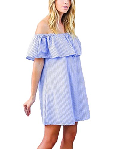 ZANZEA Femme Sexy Epaule Nu Bleu Striped Mini Dress Robe D'été Evening Partie Tunique Bleu