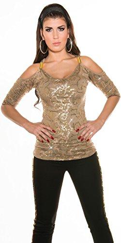 Sexy schulterfreies Shirt mit Pailletten Koucla by In-Stylefashion SKU 0000ISF08040801 Cappuccino