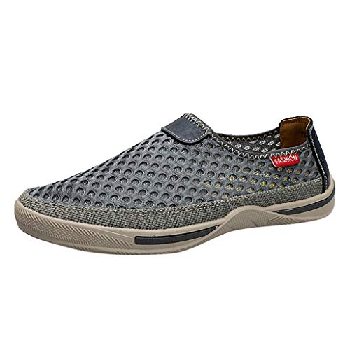 Fenverk Herren Leichtes Slip On Sneaker Sportschuhe Laufschuhe Herren Slip on Casual Schuhe Leichte Anti-rutsch Schuhe Schwarz, Grün, Grau 38-46(Grau,41 EU)