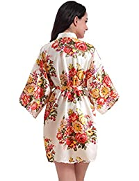 Huixin Flores Bata para Bodas Fiesta Nupcial Poliéster Novia Vintage Camisón Mujer Túnicas Damas De Honor