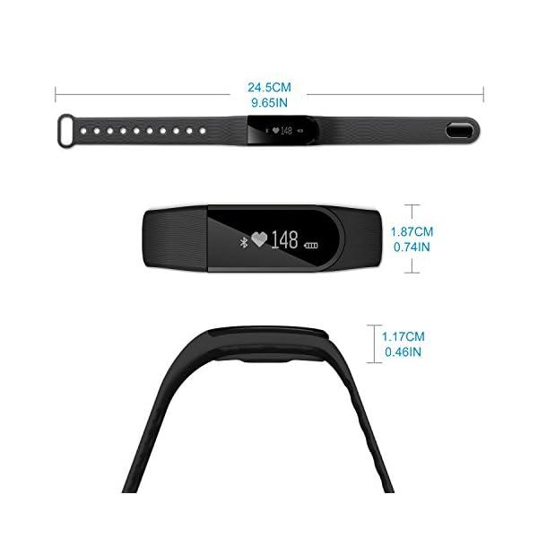 Fitness Tracker, Ritmo cardíaco inteligente actividad pulsera HR podómetro calorías deslizar pantalla táctil de… 7
