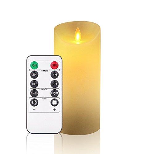 Velas LED, sin Llama velas 180horas Panier–Velas de pilar en estilo Juego de 3(10,2cm 12,7cm 15,2cm, por Diámetro 8cm). REALiS mesa flackernde LED de llamas de cera real en marfil color. 10De Teclas Mando a distancia con función de temporizador de 24horas (3* 1, Ivory)