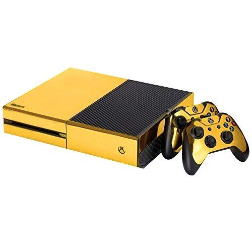 Batman Haartrockner (Xbox One Designfolie Sticker Skin - Vinyl Aufkleber Schutzfolie für Xbox One Konsole mit 2 Aufkleber für Xbox One Controller - Gold)