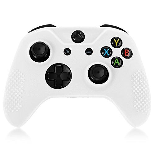 TNP Xbox One S/Xbox Elite Controller Case (Schwarz)-Weich Silikon Gel Gummi Grip Case Schutzhülle Haut für Xbox One S/Xbox Elite Wireless Game Gaming Gamepad Controller Weiß Weiß