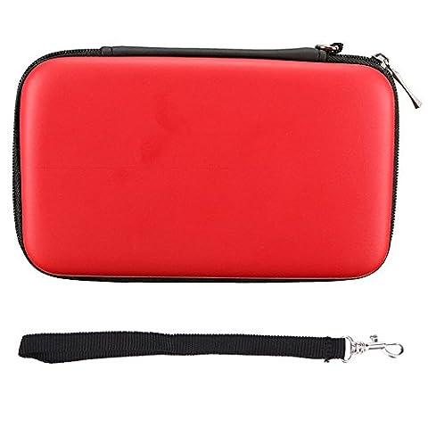 Exlene® Nintendo 2DS XL EVA peau Carry Hard Case Sac pochette pour Nintendo 2DS XL,3DS LL XL-- avec sangle [Jeu vidéo] (rouge)