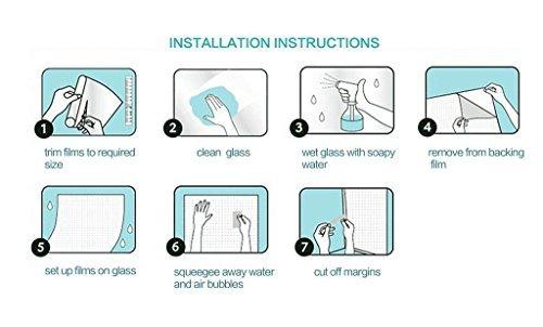 """Tamia-Home Statische Fensterfolie 90% UV-Sonnenschutz Selbsthaftende Sichtschutzfolie Glasdekor """"Blätter Weiß"""", 1 Stück, milchweiß, halbtransparent, HF-C5X4-XEW1 - 5"""