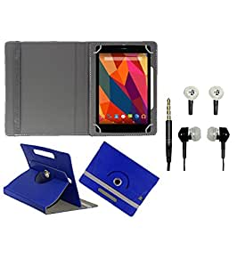 Gadget Decor (TM) PU Leather Rotating 360° Flip Case Cover With Stand For Iball Slide 6351-Q400i + Free Handsfree (Without Mic) - Dark Blue