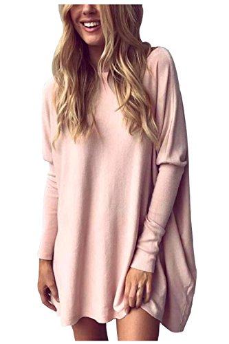 Beaii Damen Casual Lose Pullover Fledermaus Langarm Rundhals Sweatshirt Oversized Oberteil Tunika Tops (Rosa Tunika Top)