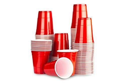 Rote Bechern 1000 x Red Cups - Beer Pong Party Tassen American Original 500ml - Große Plastik becher Trink Glas Einweg geschirr - mehrere Farben   Großhandel 16oz Frat College - Red Celebration