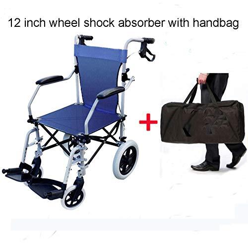 SSLL Reiserollstuhl Leicht Faltbar Klapp Rollstuhl Leicht Aluminium Protable Liegestuhl Für Personen Mit Körperlichen Beeinträchtigungen Und ältere Menschen Sitzbreite 45 cm Belastbarkeit 100 Kg,D
