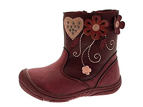 Lora Dora Girls Toddlers Faux Leather Mid Calf Ankle Boots Faux Fur Floral Hearts Red Shoes Size 2