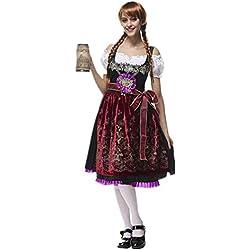 Disfraz de bavara de Mujer Uniforme Vestido de Oktoberfest Traje Tradicional de Baviera Disfraz de Criada Cosplay para Halloween Carnaval Bar