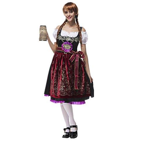 Imagen de disfraz de bavara de mujer uniforme vestido de oktoberfest traje tradicional de baviera disfraz de criada cosplay para halloween carnaval bar