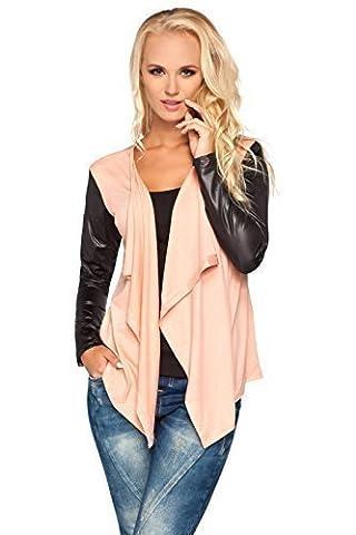 Futuro Fashion Ladies Smart Jersey Waterfall Cardigan Wet Look Sleeves Cotton Blazer Bolero Style 8079 Peach 14 UK (XL)