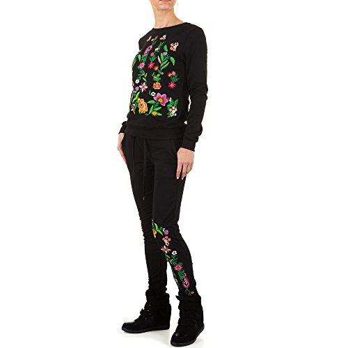 Bestickter Zweiteiler Anzug Für Damen bei Ital-Design Schwarz