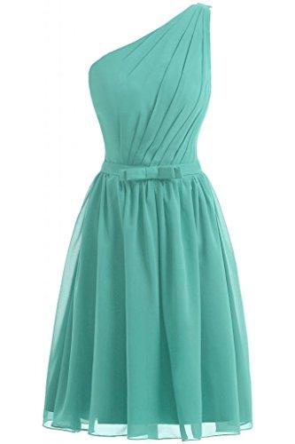 Sunvary 2014 A-Line da donna semplice per damigella d'onore, in Chiffon Una spalla, per Cocktail Party Dresses Verdone