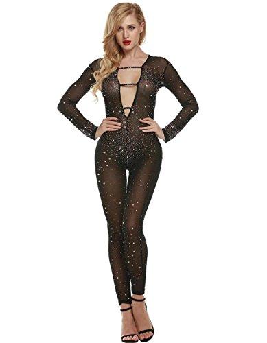 DuuoZy Sexy Bodycon tiefer V-Ausschnitt Strass verziert Overall-Partei-Verein Fashion Body Frauen , black , (Wie Hoch Nonne Kostüme)