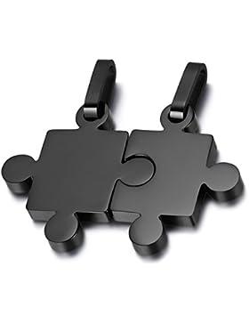 Oidea 1 Paar(2PCS) Freundschaftsketten mit Anhänger, Puzzle Love Lieben Edelstahl Partner-Anhänger mit 45cm und...