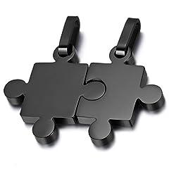 Idea Regalo - OIDEA Collana per Coppia Lovers Collana in Acciaio Inox Pendente Puzzle Nero(1 Coppia)