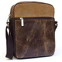 Schultertasche für Männer. Messenger Tasche aus Leder kombiniert und gewaschener Baumwolle.