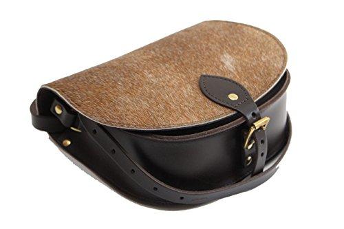 Pelle bovina reale cuoio Croce borsa corpo con fibbia di chiusura e tracolla regolabile Marrone scuroCowhide