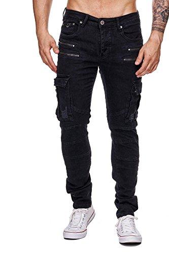 MEGASTYL Herren Biker Jeans Hose Cargo Taschen Stretch-Denim Slim Fit , Farbe:Schwarz, Größe:W30 / L32 (Stretch Schwarze Denim)