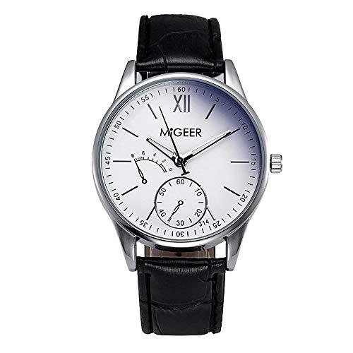 Souarts Herren Armbanduhr Braun Schwarz PU Leder Blau Glas Quarz Uhr mit Batterie Weiß Schwarz Zifferblatt