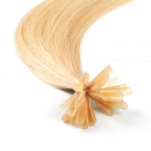 Verklebt Haarverlängerung (Haarverlängerung, vorgebundene Strähnen, Bondings / Nail-Tip, Remy-Echthaar, Güteklasse AAA, glatt, 40,64 cm, helles Blond 24)